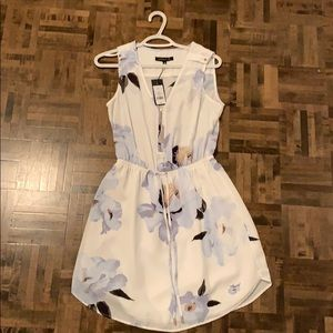 Mid length baby blue and cream floral dress